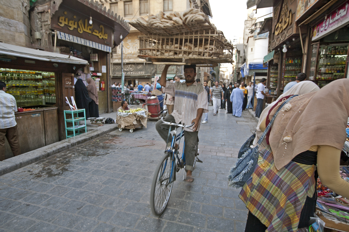 Guy Biking with Bread, Cairo, Egypt