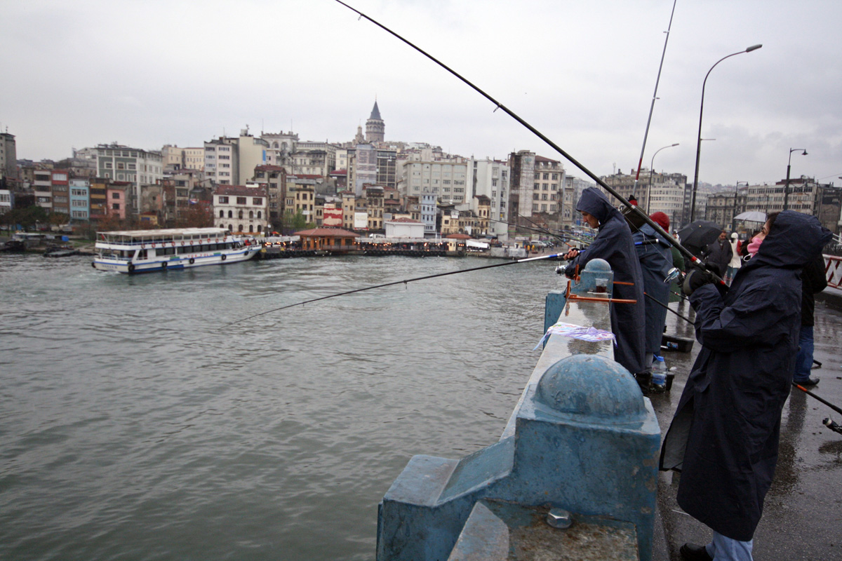 Woman Fishing on Bridge, Istanbul